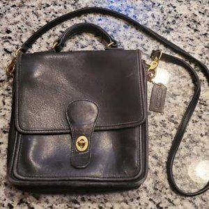 Black Leather Vintage Coach Crossbody